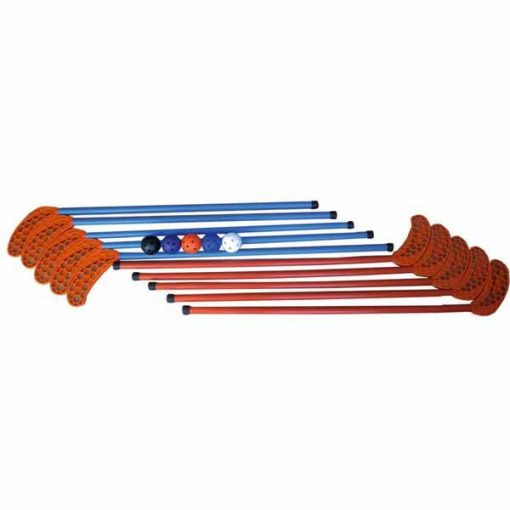 Material deportivo para educacion fisica. Set de 10 sticks de floorball de 95 cm incluye 5 pelotas floorball