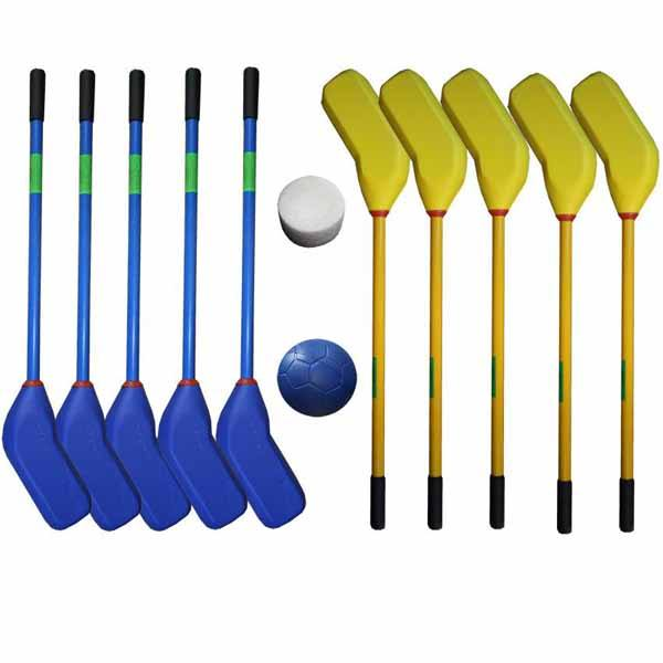 Material deportivo escolar. Set de 10 sticks de hockey ball cabeza de foam