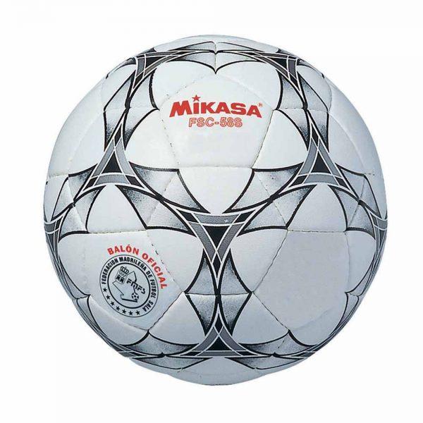 Material deportivo escolar. Balón futbol sala de cuero Hyde Mikasa cosida a mano,cámara de látex y válvula botilica. Competición. Disponible en dos Diámetros: 58 y 62 cm.