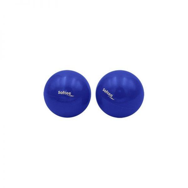 Material deportivo para educacion fisica. Set de 2 pelotas de pilates lastradas con peso 1 de 0,5 kg. 1 de 1kg.